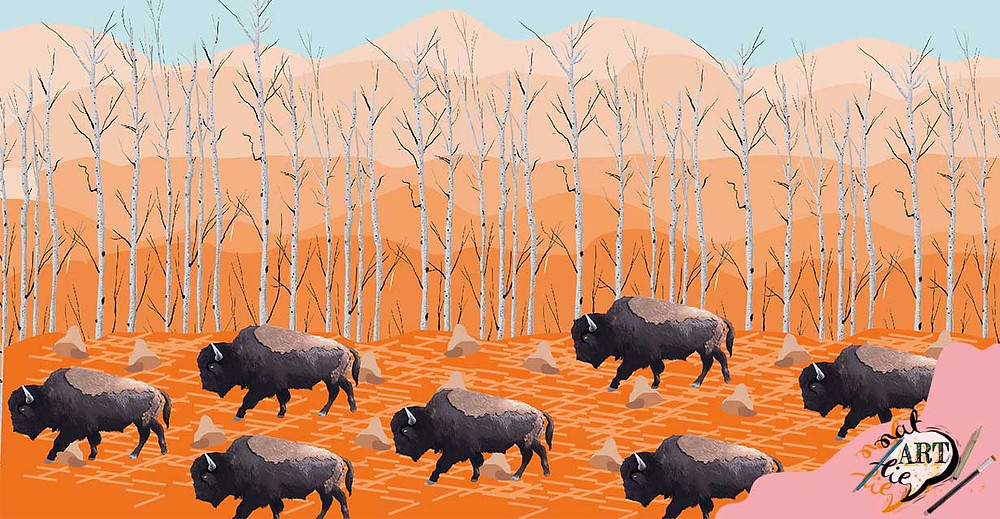 surface pattern illustration Yellowstone trees and buffalo bison