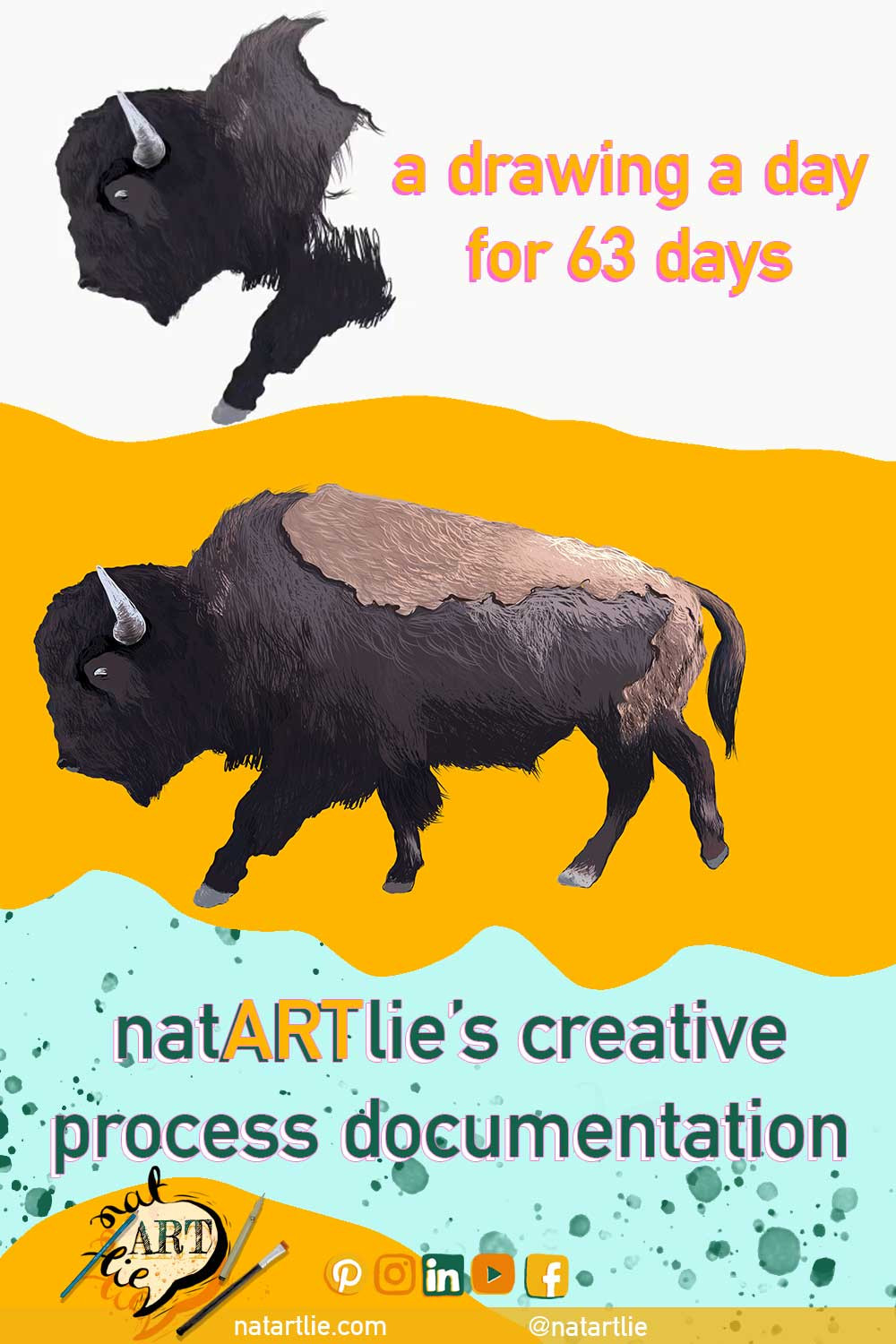 buffalo. bison. drawing. montana. creative ritual. creative process documentation. a drawing a day.