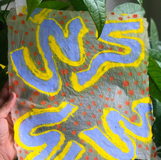 Pulp painting on handmade abaca paper