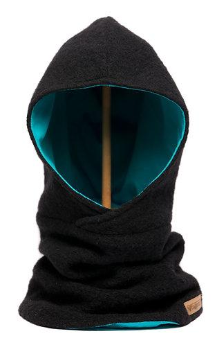 Hoodiescarf black-turquoise