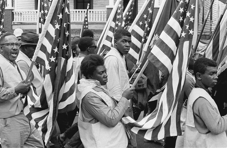 Flags Selma Marchers Draped