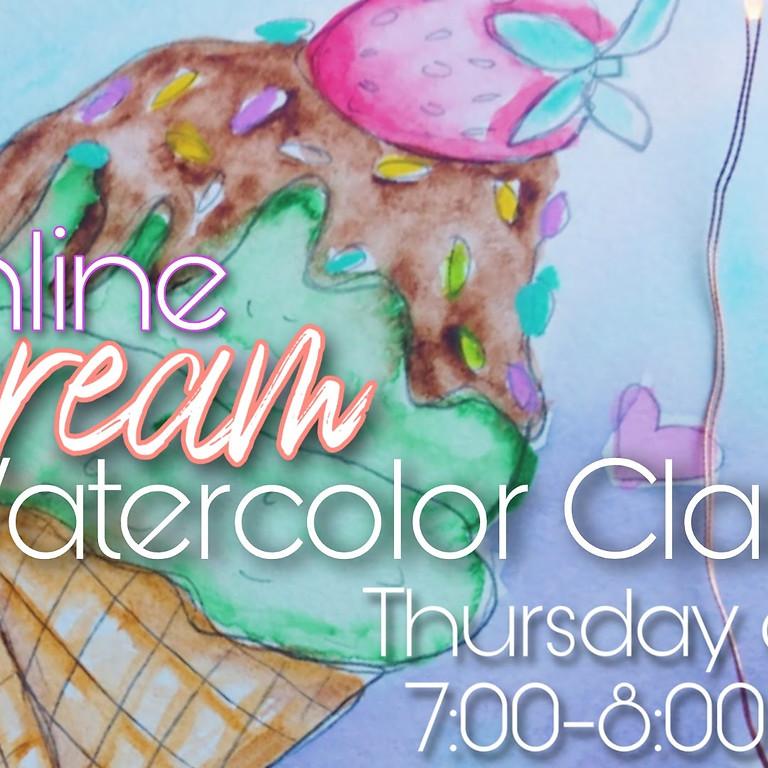 Ice Cream Watercolor Class
