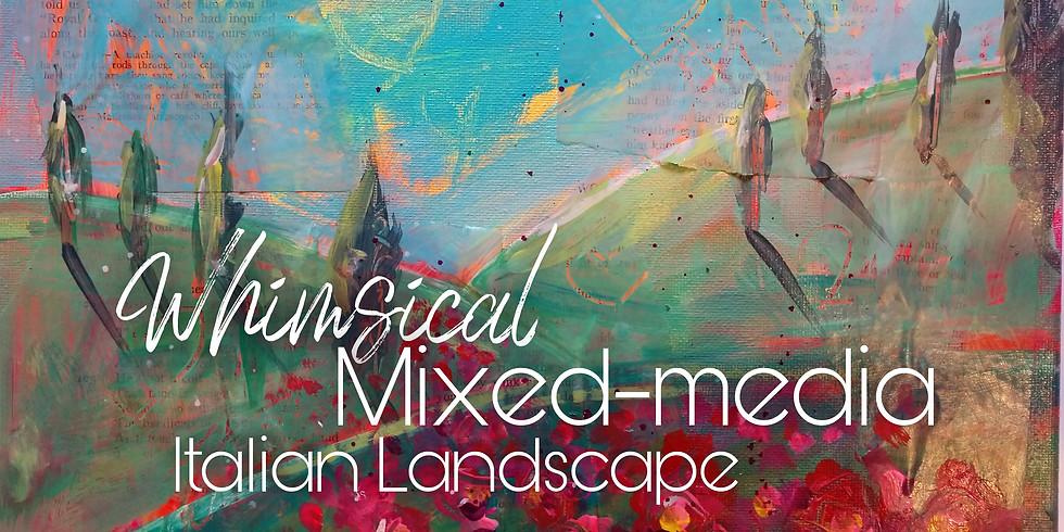 Whimsical Mixed-Media Italian Landscape