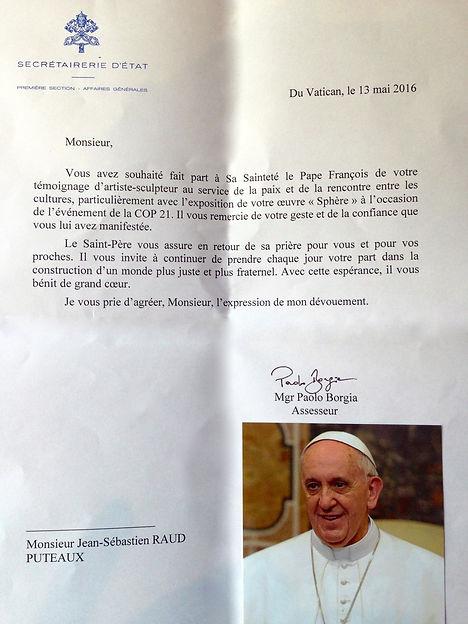 Jean Sébastien Raud art engagé soutien du pape cop 21 environnement