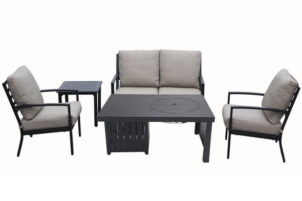 5 Piece Cast Aluminum Deep Seating Chat Set w/ Fire Table