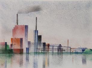 Tehdas aamulla yhdellä savulla / Factory in the morning with one smoke