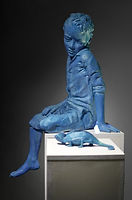 contemporary art blue sculpture