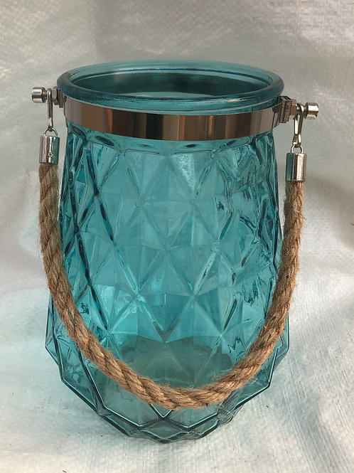 Glass Jar Blue with Rope Handle Diamond Pattern Pot