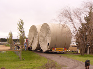 Our first 2 x 50,000 water tanks arrive.