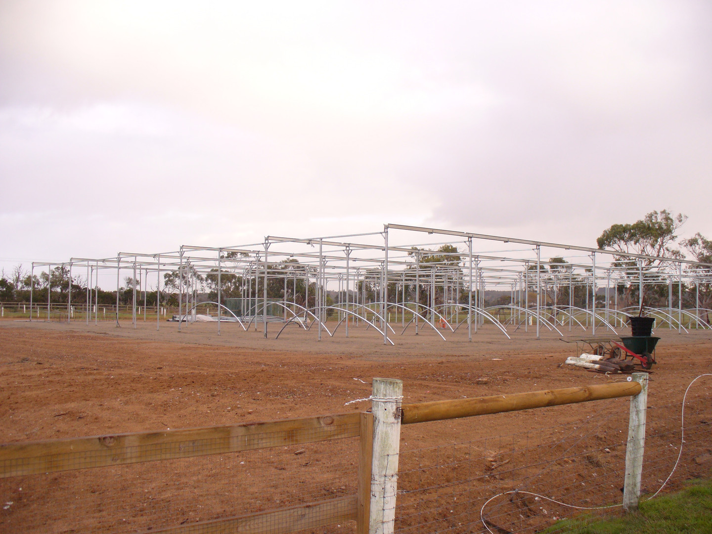 Frame goes up on carnivorous plant growing nursery.