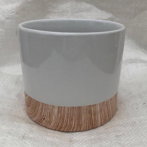 Ceramic White Elegant Round Pot - 03-RND5-ELEGANT
