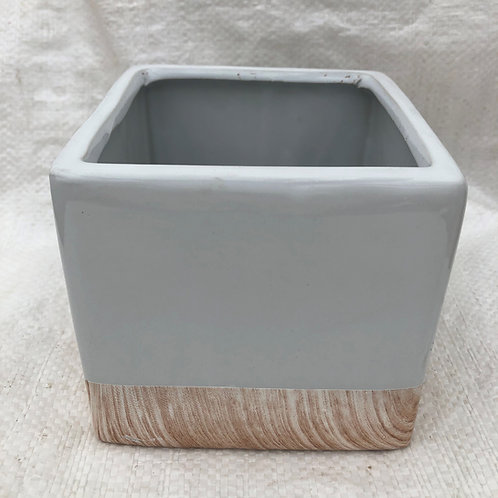 Ceramic White Elegant Square Pot - 03-SQ5-ELEGANT