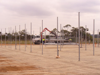 The framework is unloaded for building to finally commence.