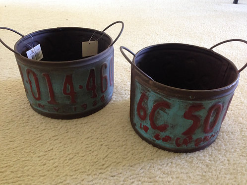 Number Plate Planter Tins set of 2 Round