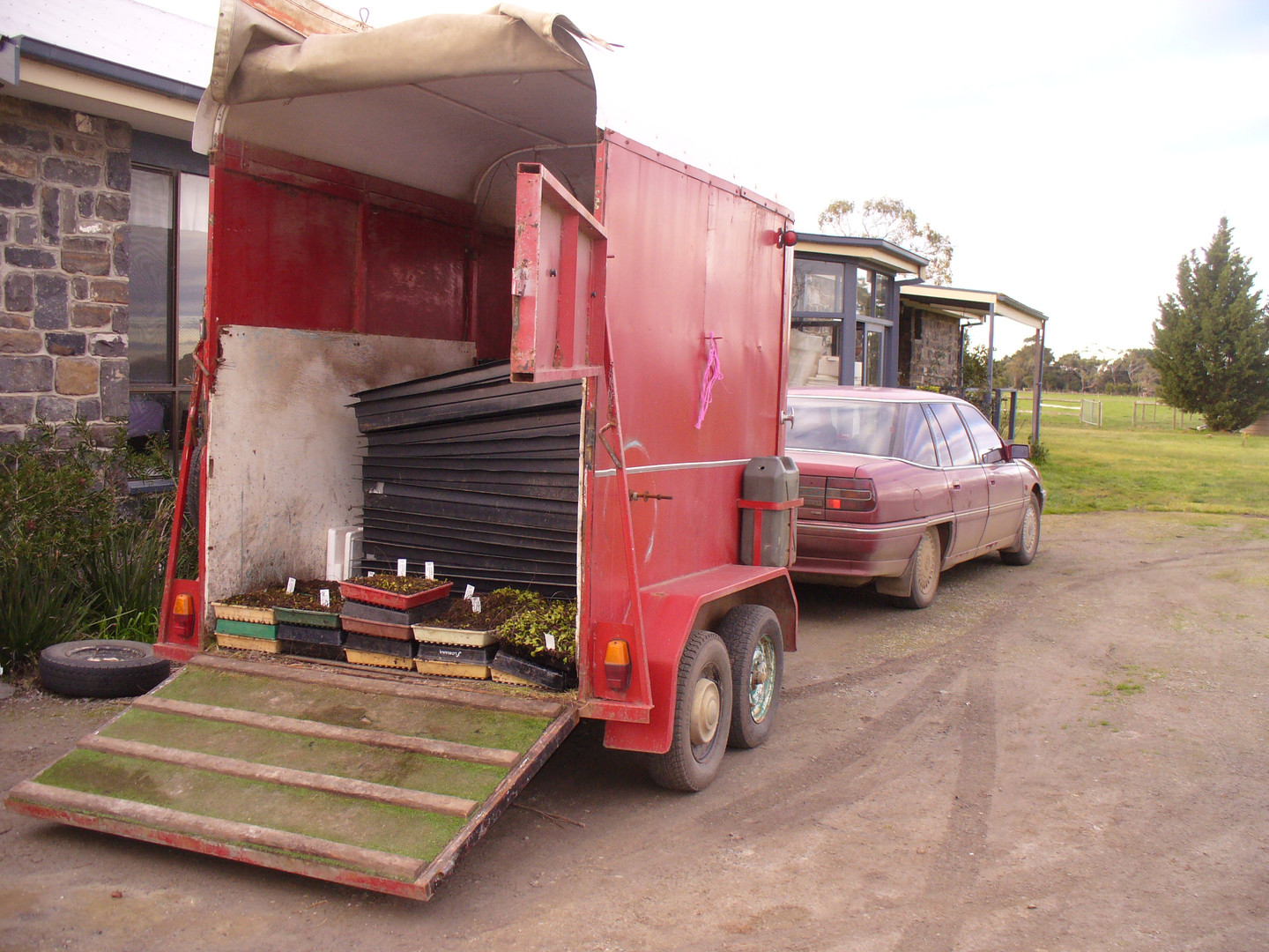 Our entire nursery and stock was moved by horsefloat after horsefloat load.