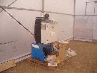 The fog pump unit has been delivered.  It will produce millions of microscopic water droplets to cool and humidify the air.