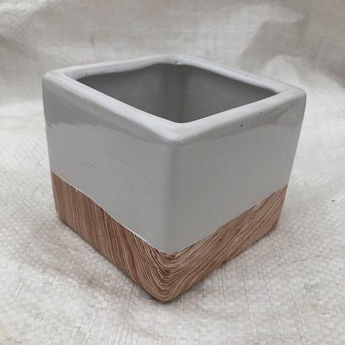 Ceramic White Elegant Square Pot - 03-SQ3-5-ELEGANT