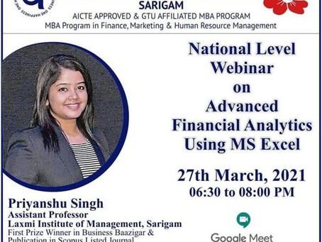 A REPORT ON ADVANCE FINANCIAL ANALYTICS USING MS EXCEL