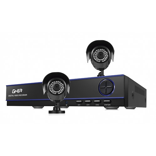 Ghia Kit de Vigilancia GDV-007 de 2 Cámaras CCTV Bullet y 4 Canales, con Grabad
