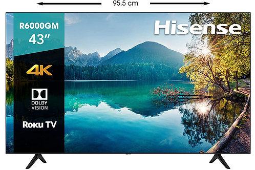"Hisense 43R6000GM Serie R6 43"" 4K Uhd, Smart TV, Roku TV, Hdr10, Roku"