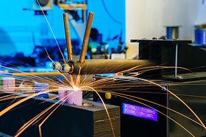Closeup view of contact welding machine