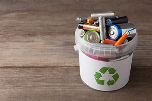 battery recycle bin with old element on