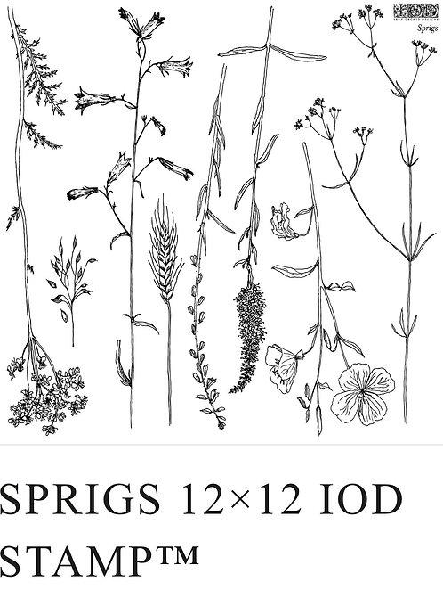 """IOD Sprigs 12"""" x 12"""" Stamp"""