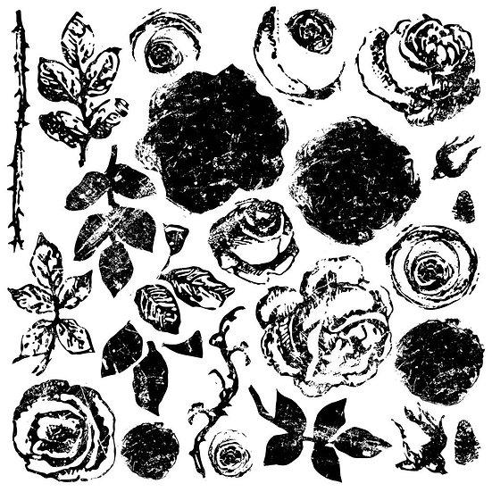 Painterly Roses Decor Stamp 12 x 12