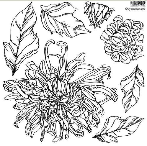 "IOD Chrysanthemum  12 x 12"" Stamp"