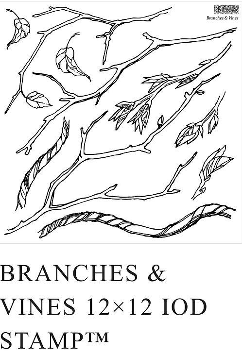 "IOD Branches & Vines Stamp 12"" x 12"""
