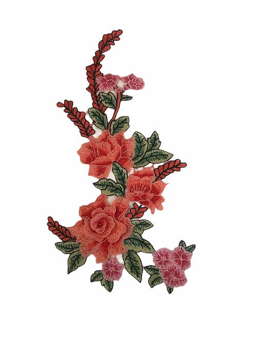 Broderie grappe fleurs rose et saumon XL