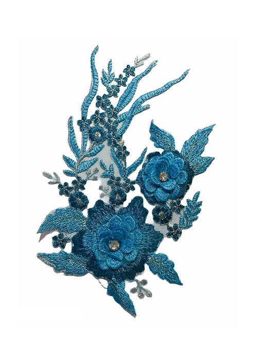 Broderie rose bleu XL