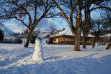 Snowman on the camping grounds