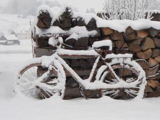 Bicycle in snow at sedliacky dvor