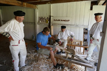 Making traditional slovak roof shingles