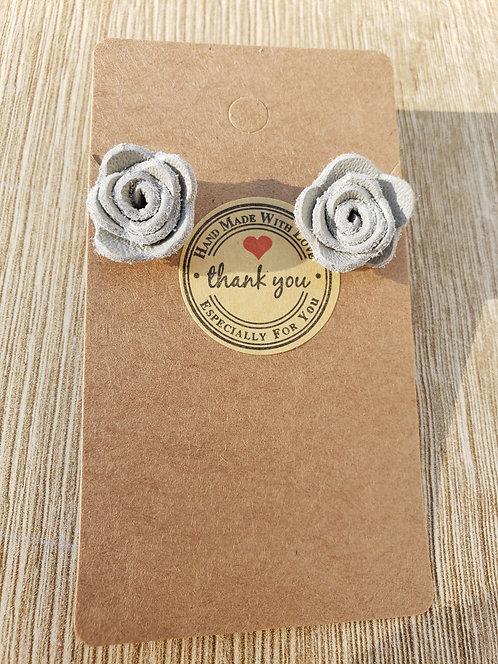 Gray Leather Stud Rose Earrings