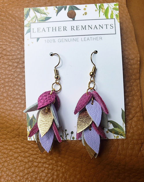 Purple and Gold Dangly Earrings