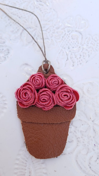 Red Flower Pot Christmas Ornaments