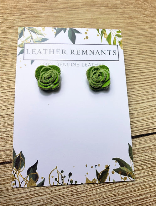 Bright Green Leather Rose Stud Earrings