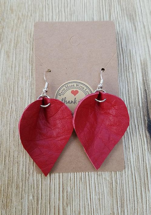 Red Leather Teardrop Earrings