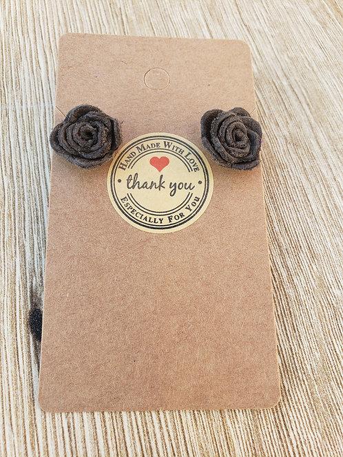 Dark Brown Leather Rose Stud Earrings
