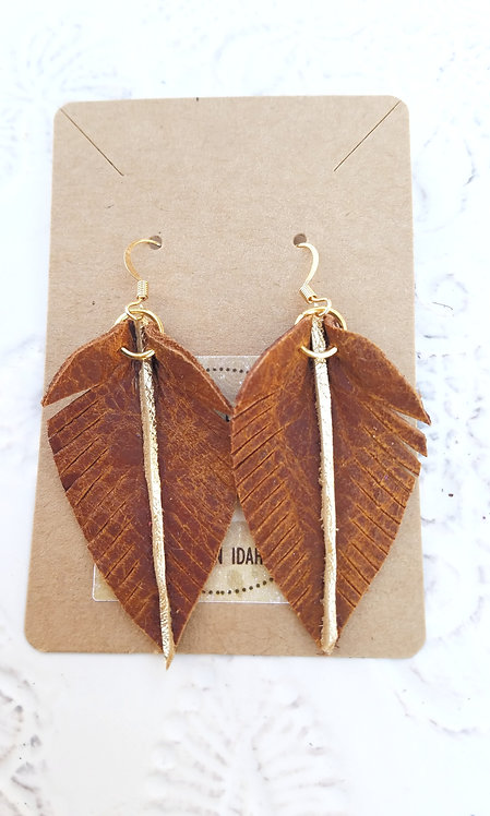 Rustic Brown with Gold Accent Leaf