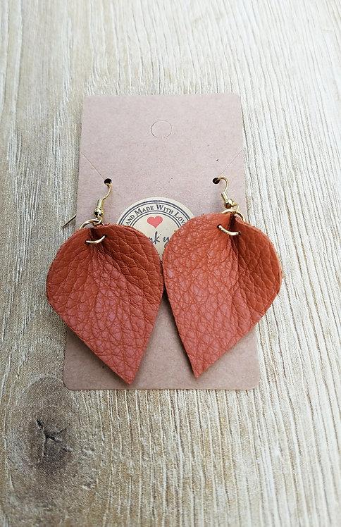 Orange Leather Teardrop Earring