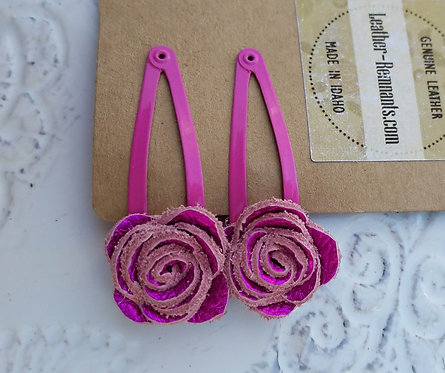 Bright Pink Metallic Hair Clips