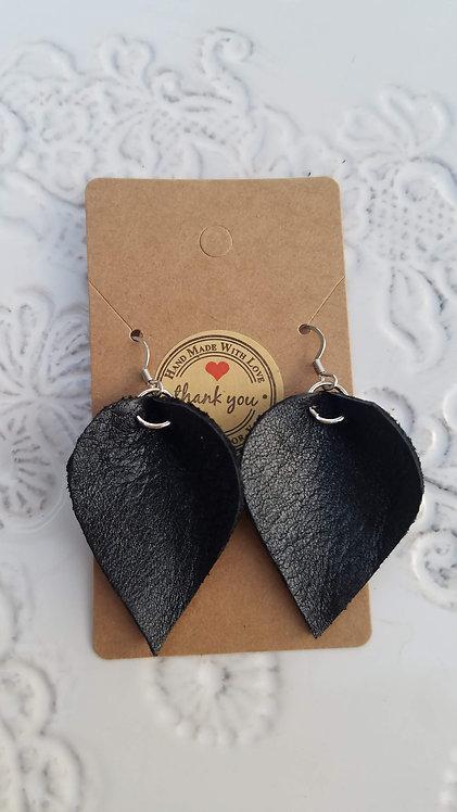 Black Leather Teardrop Earrings