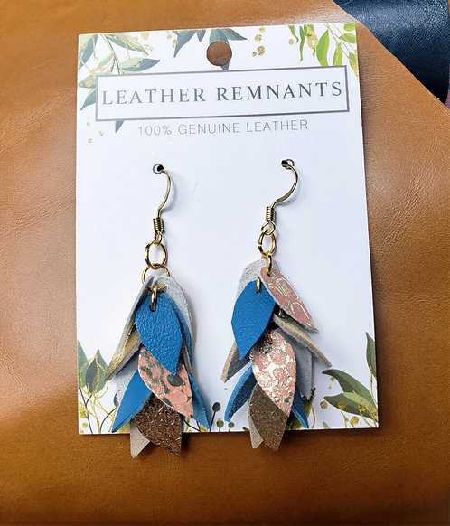 Blue orange and Gold Dangly Earrings