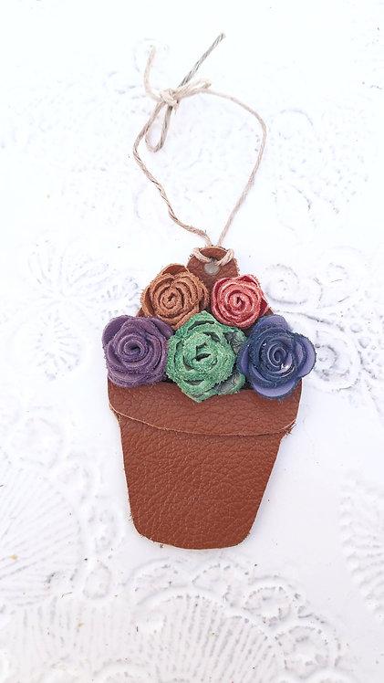 Flower Pot Christmas Ornament Multi-Colored