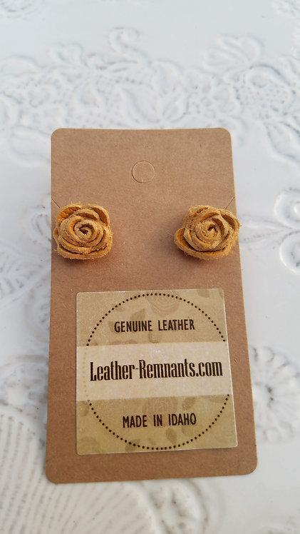 Mustard Yellow Leather Rose Stud Earrings
