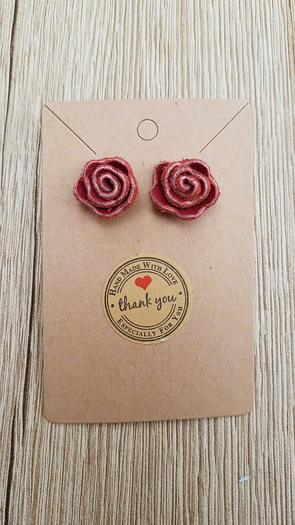Red Leather Rose Stud Earrings