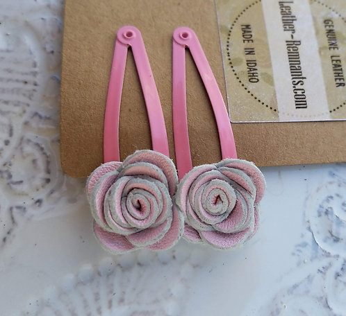 Pink with Slightly Darker Pink Clips